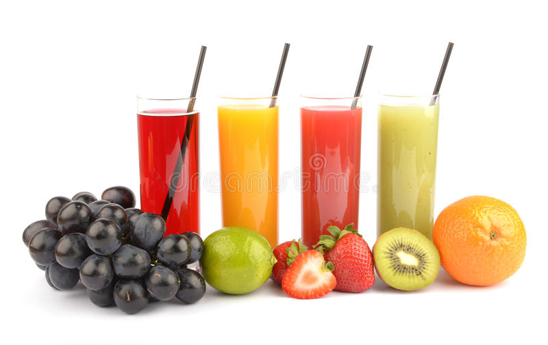 Соки свежих фруктов на белизне стоковое фото rf