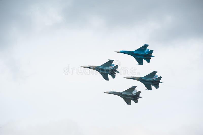 Соколы группы полета России на Su-27 стоковое фото