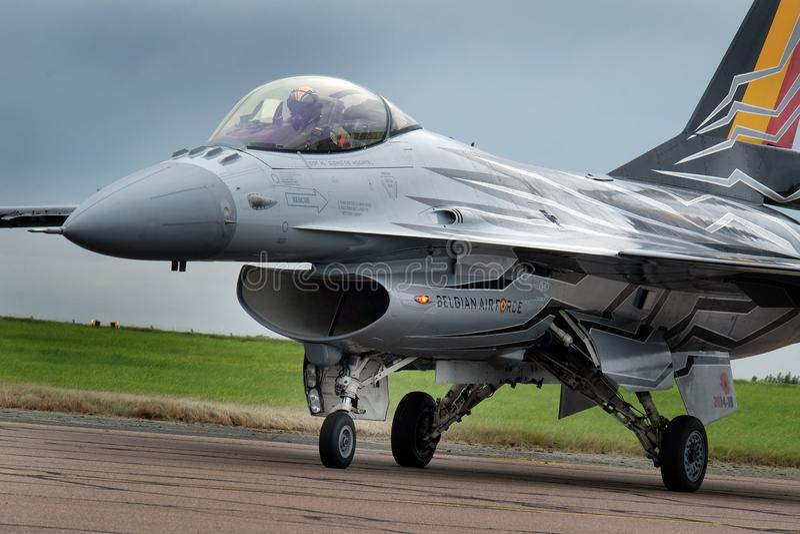 Сокол F16 Lockheed Martin воюя на авиасалоне Scampton 10-ого сентября 2017 Основание военно-воздушных сил Великобритании Линкольн стоковая фотография rf