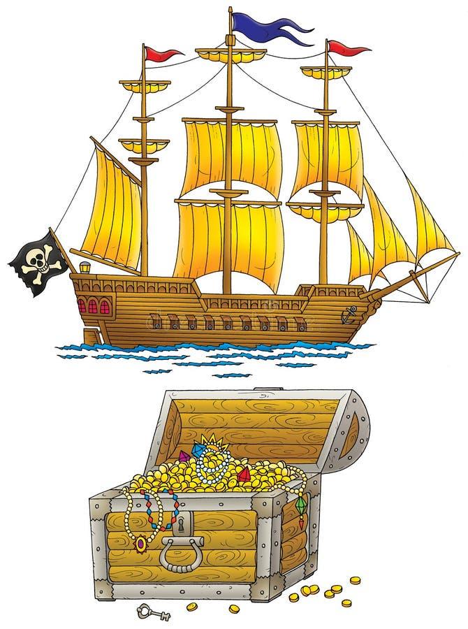 сокровища корабля пирата комода иллюстрация вектора