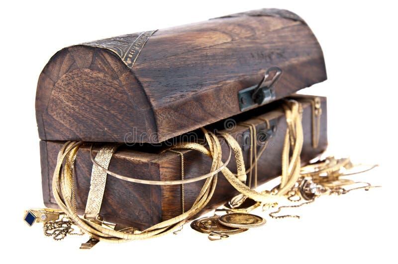 сокровище ювелирных изделий коробки старое стоковое изображение