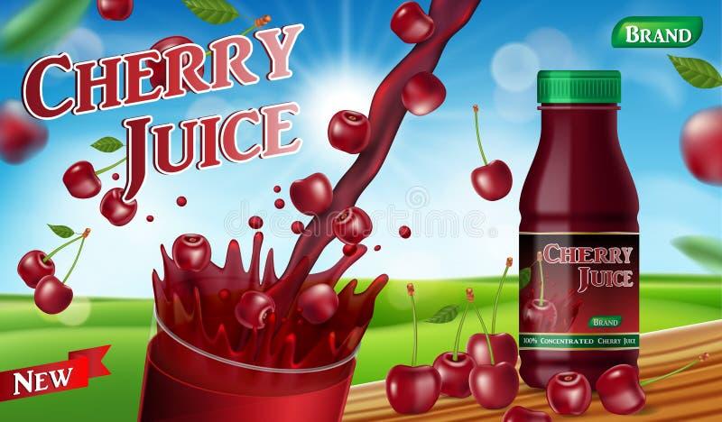 Сок вишни с выплеском изолированным на предпосылке bokeh Объявление пакета контейнера сока реалистический зрелый вектор вишни 3d бесплатная иллюстрация