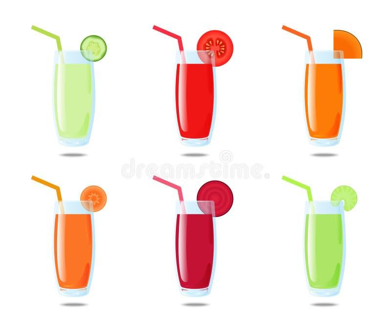 Сок комплекта 6 vegetable: огурец, томат, тыква, морковь, свекла, сельдерей иллюстрация вектора