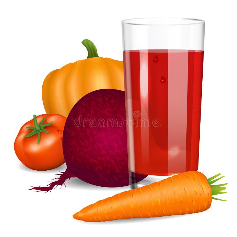 Сок овощей Томат, морковь, тыква и свеклы иллюстрация штока