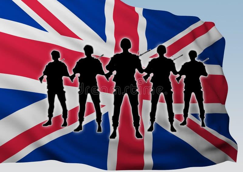 Солдаты группы силуэта против флага Великобритании иллюстрация штока