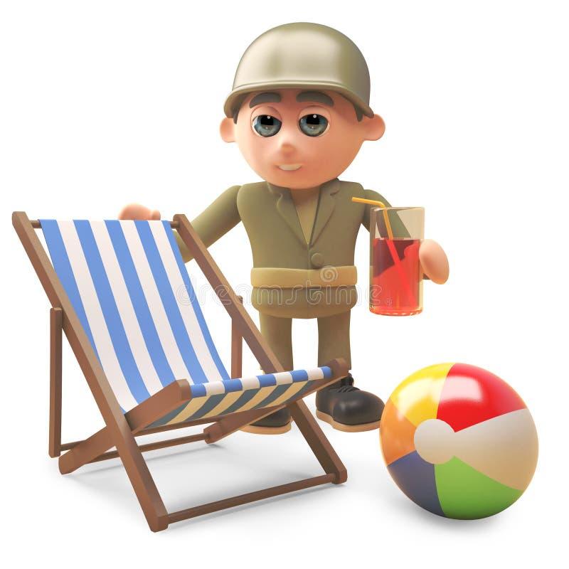Солдат армии мультфильма выпивает рядом с deckchair и beachball, иллюстрацией 3d иллюстрация штока