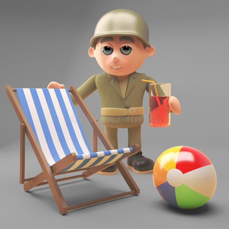 Солдат армии мультфильма на празднике с deckchair, beachball и напитком, иллюстрацией 3d бесплатная иллюстрация