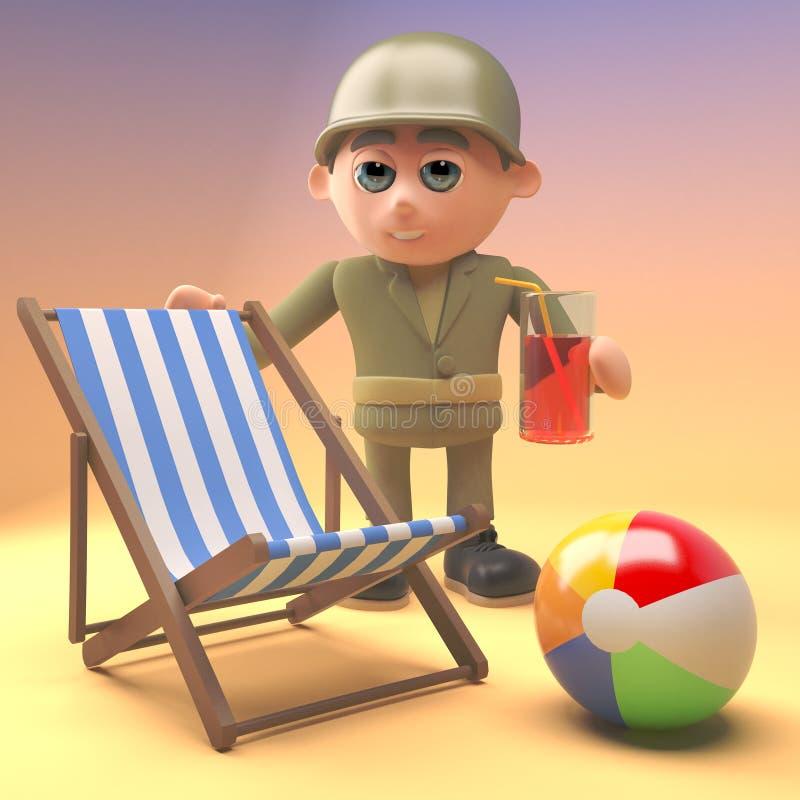 Солдат армии ослабляет на пляже с deckchair и напитком, иллюстрация 3d иллюстрация вектора