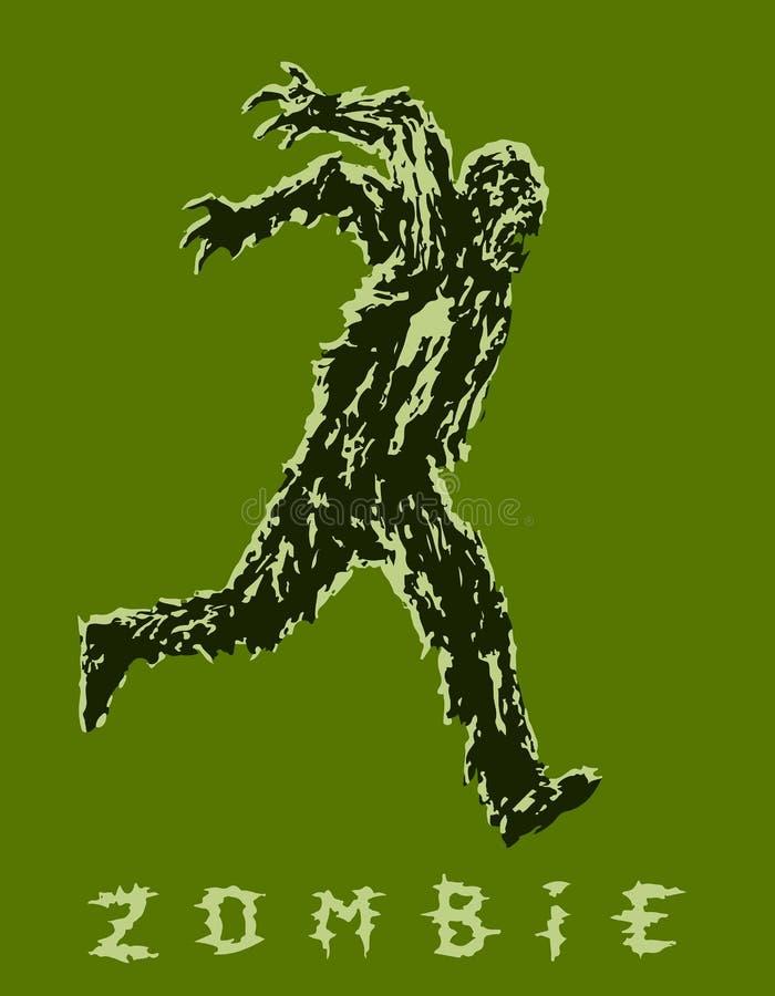 Солдат зомби бежит с его руками вверх за его назад также вектор иллюстрации притяжки corel бесплатная иллюстрация