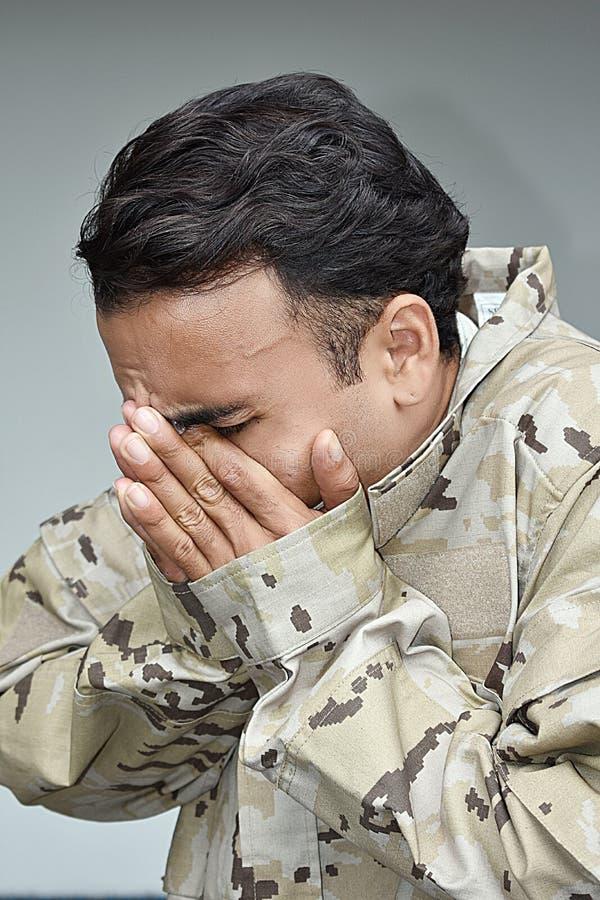 Солдат и депрессия армии мужские стоковые изображения