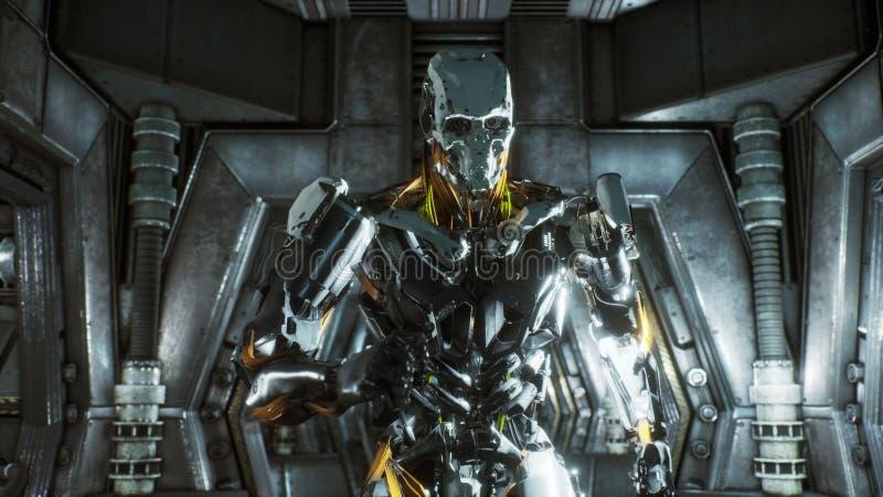 Солдат робота бежит через футуристический тоннель научной фантастики с искрами и дымом, внутренним взглядом перевод 3d иллюстрация вектора