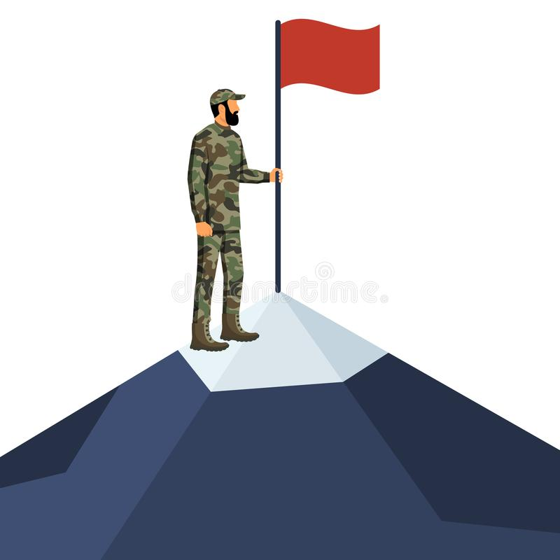 Солдат стоя на горе держа флаг иллюстрация вектора