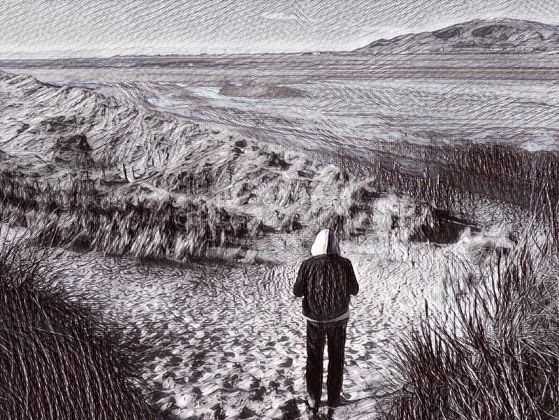 Солитарная прогулка на английском эскизе пляжа иллюстрация штока