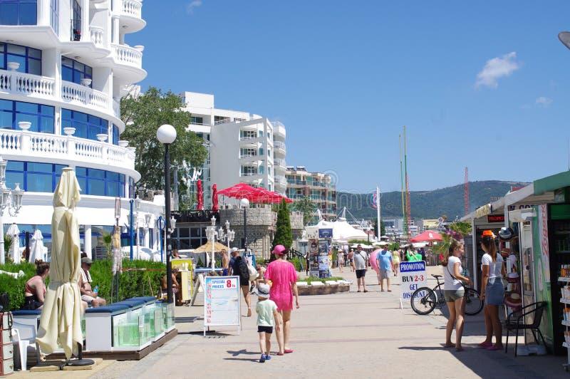 Солнечная дорожка пляжа на побережье Чёрного моря в Болгарии стоковая фотография rf