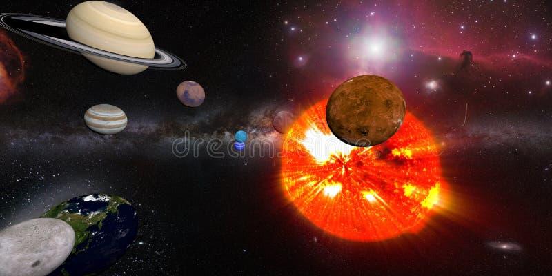 Солнечная система и вселенный иллюстрация штока