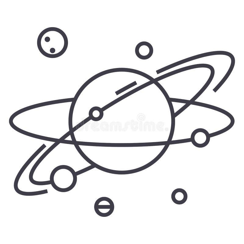 Солнечная система, планетарная, космос, планета с спутниками, повреждает линию значок вектора, знак, иллюстрацию на предпосылке,  бесплатная иллюстрация