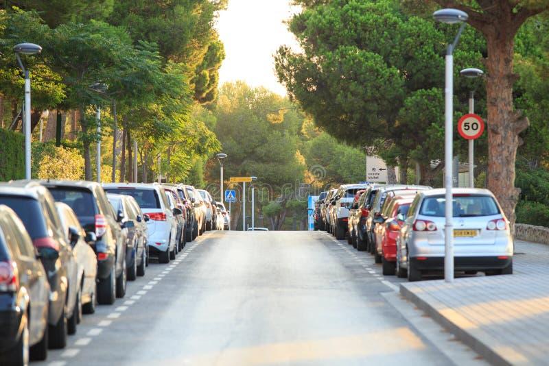 Солнечная улица Salou стоковое изображение
