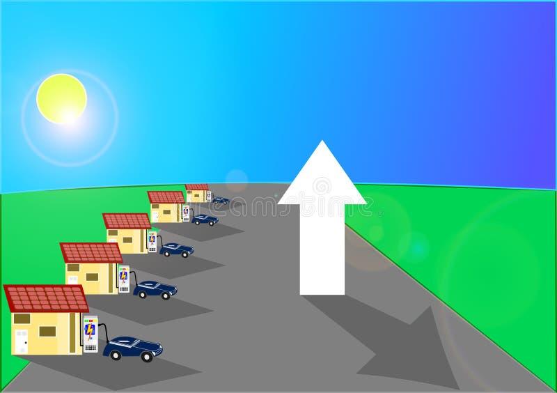 Солнечная энергия как сила в домах и автомобилях бесплатная иллюстрация