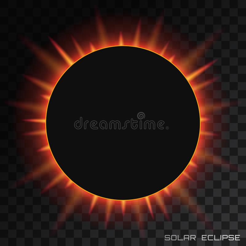 Солнечное затмение вектора полное на прозрачной предпосылке стоковое изображение