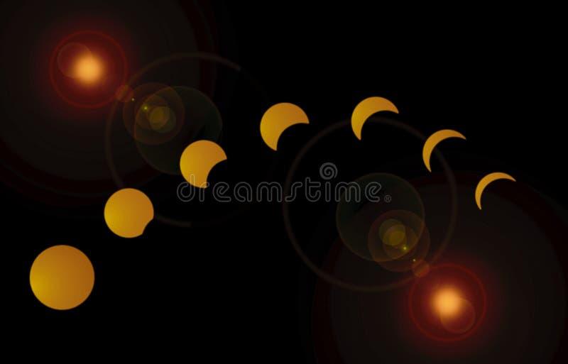 Солнечное затмение 2017 21-ое августа иллюстрация вектора