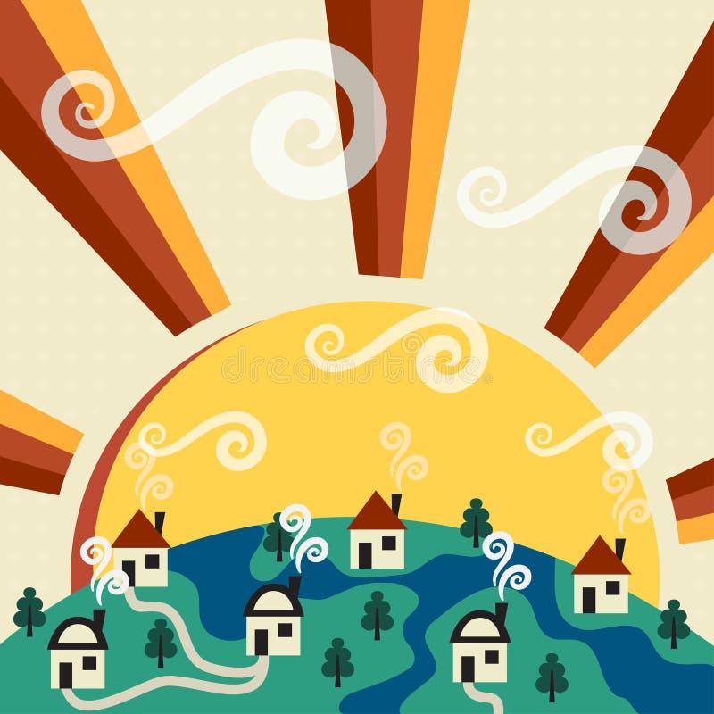 Солнечное село иллюстрация штока