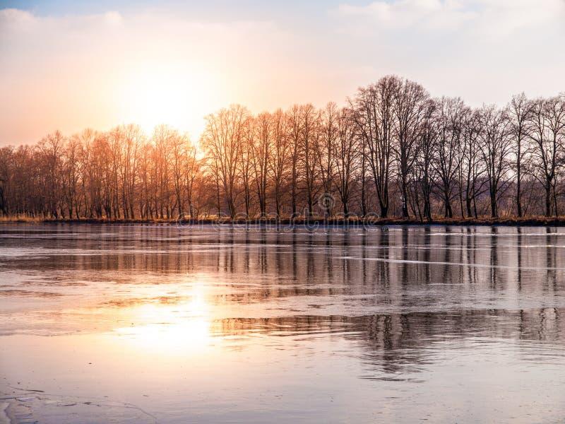 Солнечное утро зимы на морозном реке Река Эльбы или Labe стоковое фото