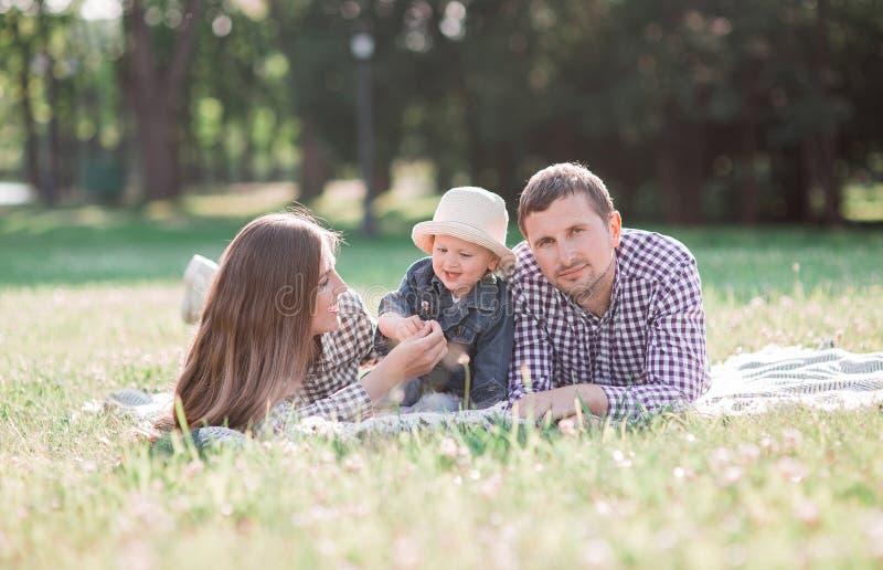 солнечные изображения счастливой пожененной пары с собакой и ребенком стоковая фотография