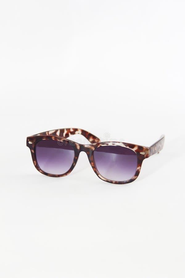 Солнечные очки в коричневой пластиковой рамке и пурпурные объективы на белой предпосылке стоковое фото rf