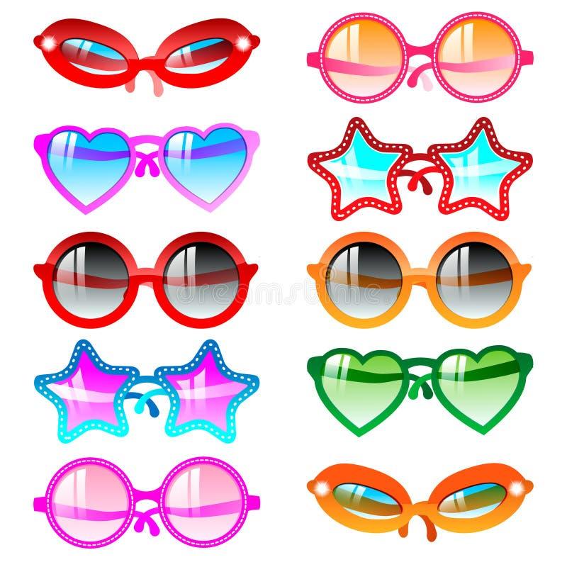 солнечные очки иконы установленные иллюстрация штока