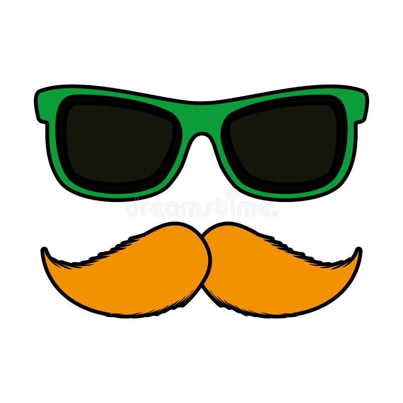 Солнечные очки и значок усика вспомогательный бесплатная иллюстрация