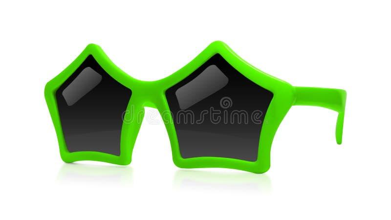 Солнечные очки моды с формой звезды изолированные на белой предпосылке Партия стекел торжества r стоковые фото