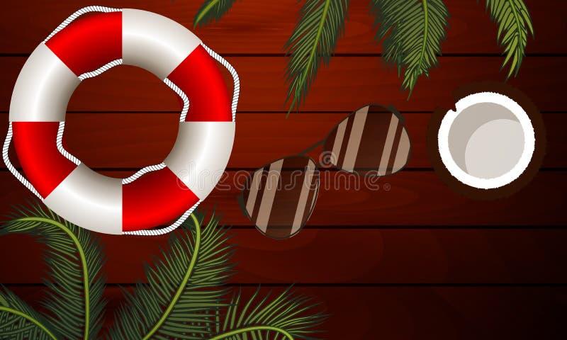 Солнечные очки пальмы lifebuoy на деревянной предпосылке, бесплатная иллюстрация