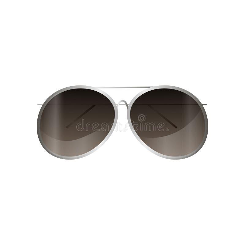 Солнечные очки рамки авиатора серебряные отражают стиль для ежедневной пользы иллюстрация штока