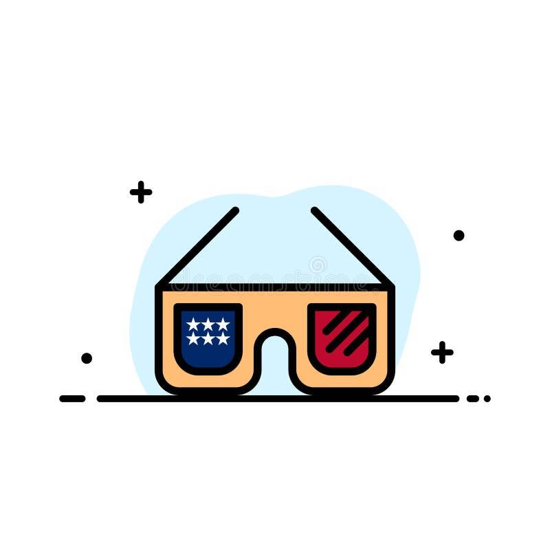 Солнечные очки, стекла, американец, линия дела США плоская заполнили шаблон знамени вектора значка иллюстрация вектора
