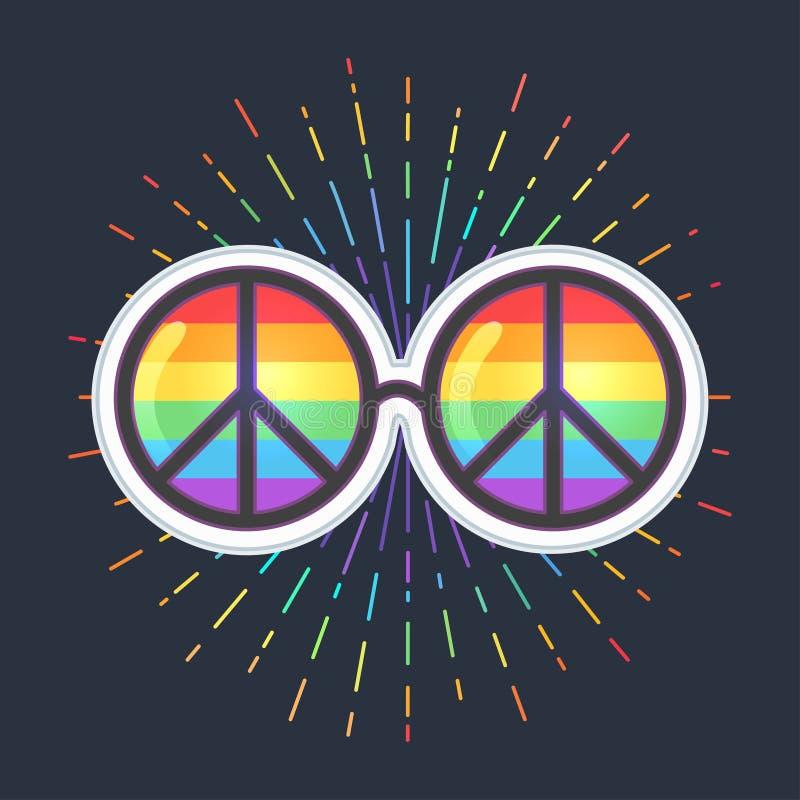Солнечные очки Hippie с объективами и знаком мира радуги голубая гордость иллюстрация вектора