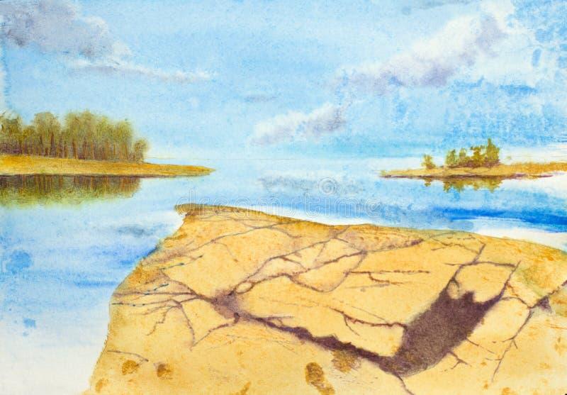 Солнечный вечер на скалистом береге бесплатная иллюстрация