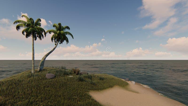 Солнечный день в малом тропическом взгляде 2 острова стоковая фотография rf