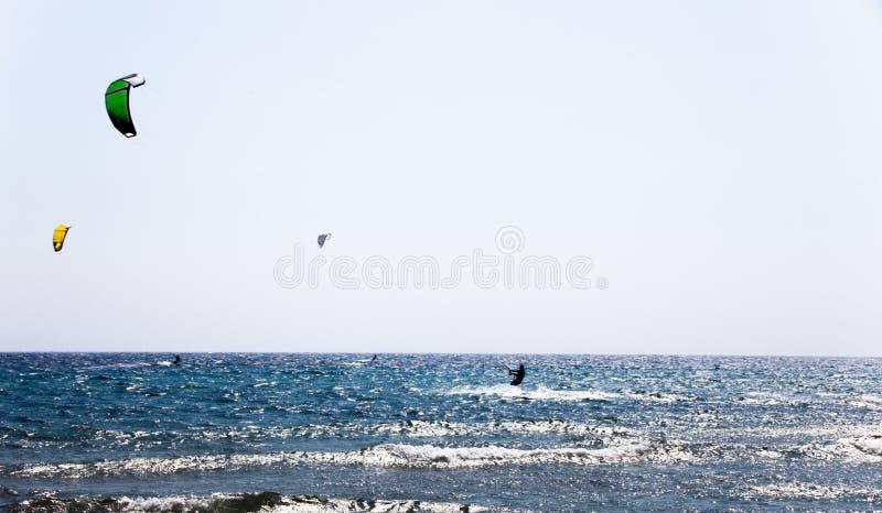 Солнечный день на голубом море с голубым небом Серферы с парашютами на волнах моря Спорт действия с парашютами и досками серфинга стоковые изображения rf