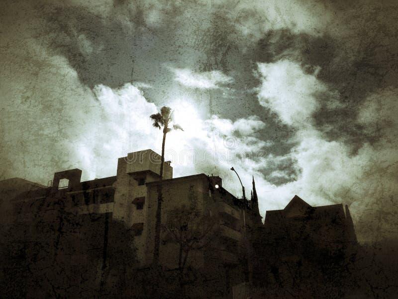 Солнечный луч Лонг-Бич, художественный взгляд, темный, хмурый, страшный, и солнечный стоковое изображение