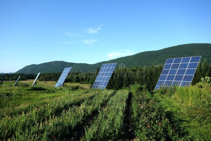 Солнечный отслежыватель обшивает панелями сельские горы стоковое изображение rf