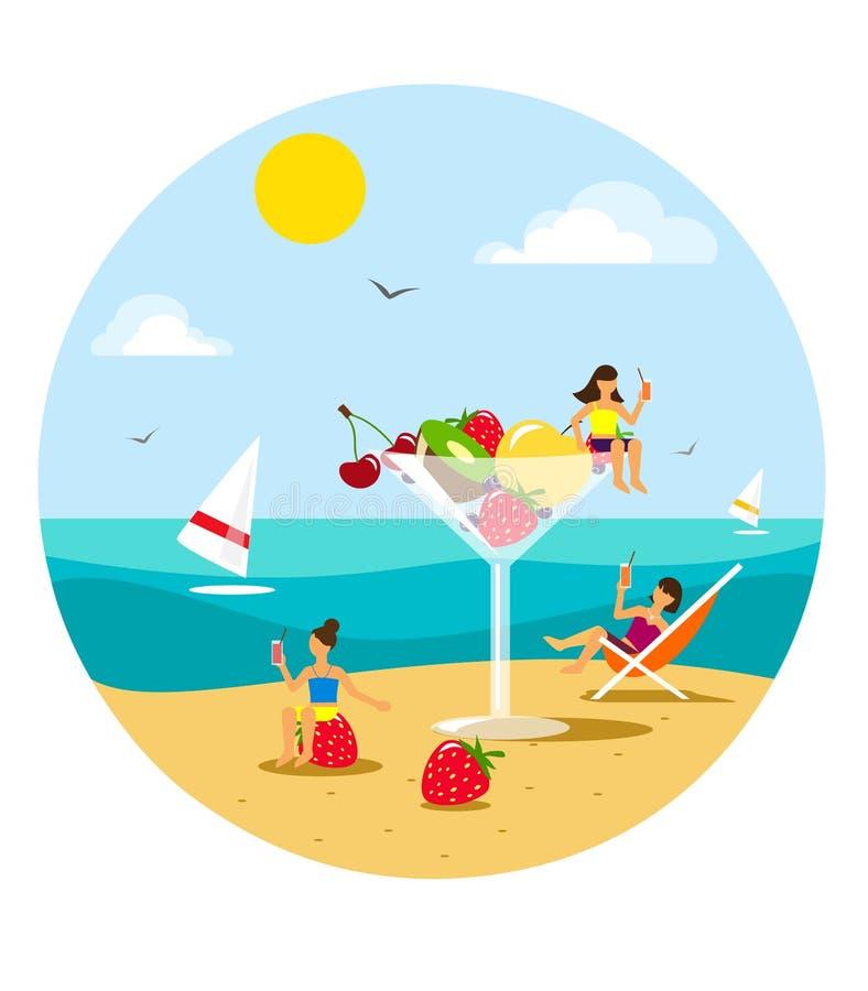 Солнечный пляж с девушками в стиле квартиры, имеющ остатки на плодоовощ и выпивающ сок вектор иллюстрация вектора