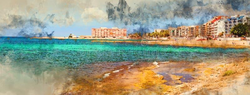 Солнечный среднеземноморской пляж иллюстрация вектора