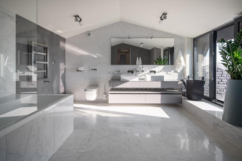 Солнечный bathroom в современном стиле с различными стенами стоковое изображение