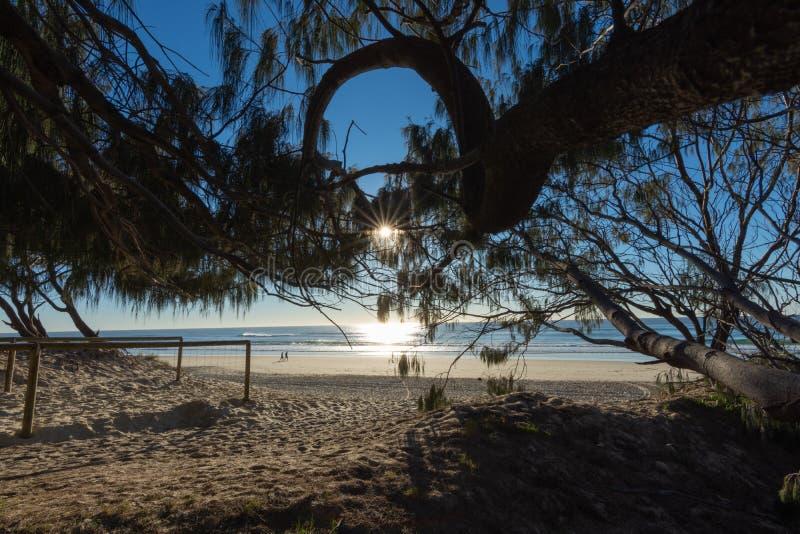 Солнцеподъёмная вспышка над пляжем Золотого Берега стоковые фото