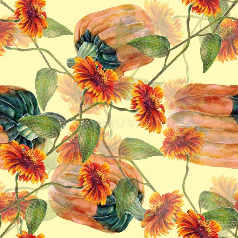 Солнцецветы акварели с тыквой Безшовная картина на cream предпосылке бесплатная иллюстрация