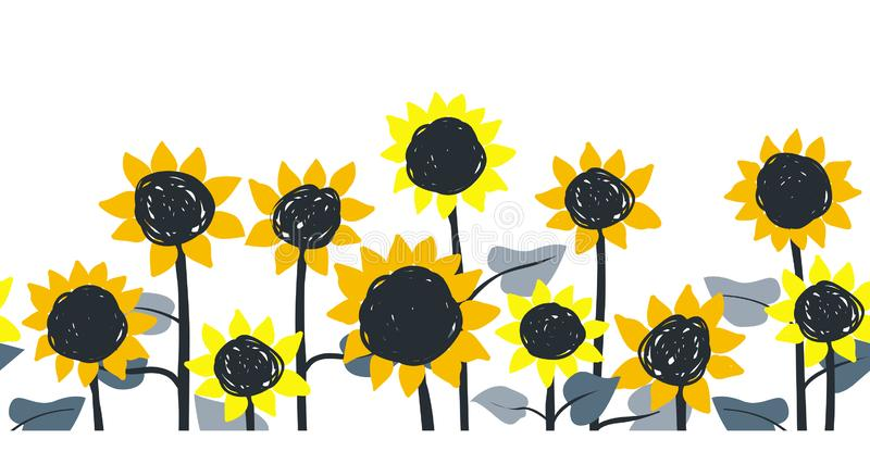Солнцецветы Картина горизонтальной границы вектора безшовная Солнцецветы руки вычерченные на белой предпосылке иллюстрация вектора