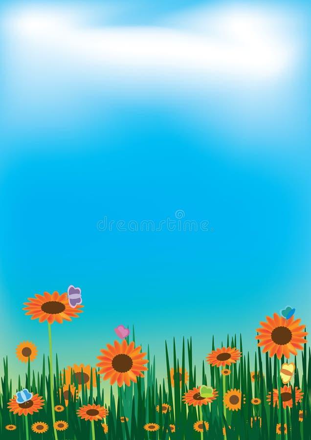 солнцецветы неба ландшафта eps облака бабочки иллюстрация штока