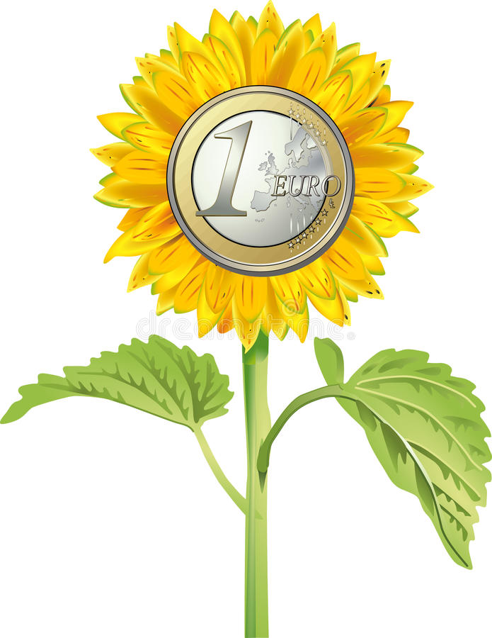 солнцецвет евро монетки иллюстрация штока