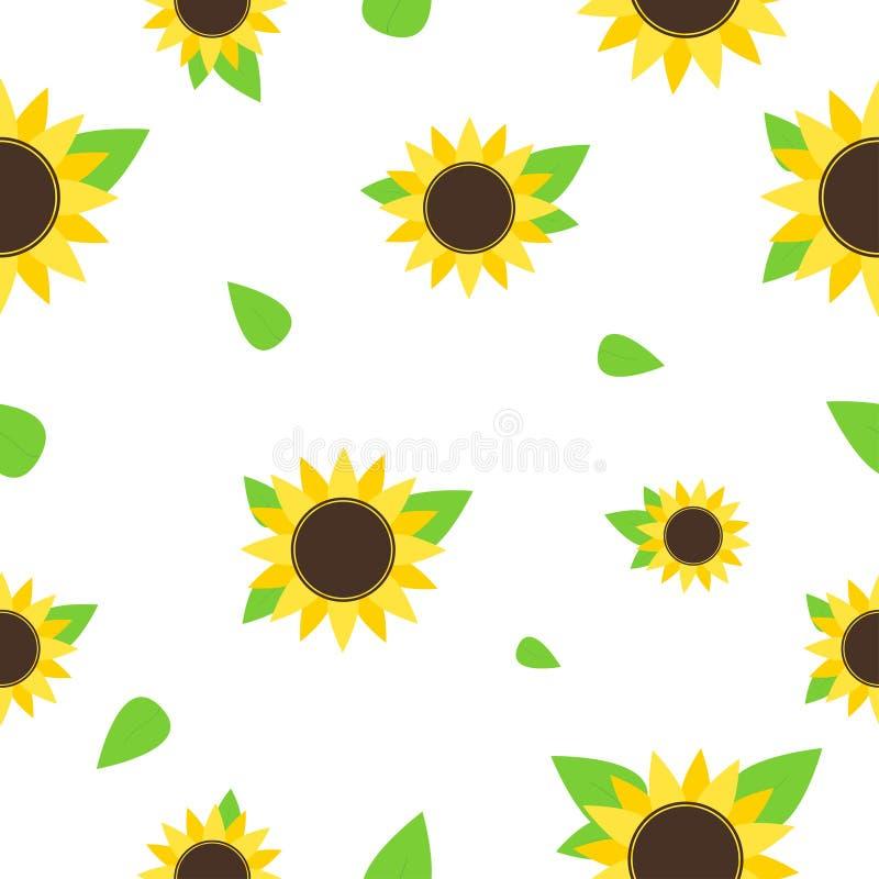 солнцецвет картины безшовный Безшовная предпосылка с желтыми цветками лета Печать лета или весны бесплатная иллюстрация