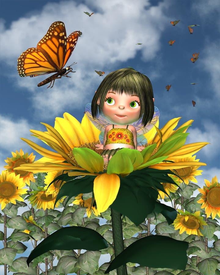солнцецвет лета предпосылки младенца fairy иллюстрация штока